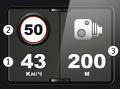 Экранное оповещение о камерах фиксации скорости